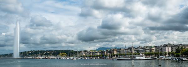 Lake Geneva and the Jet D'Eau. Geneva. Switzerland