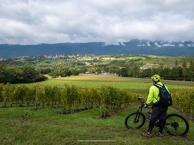 The first vinyards, Roger enjoying the view after a long climb. Switzerland