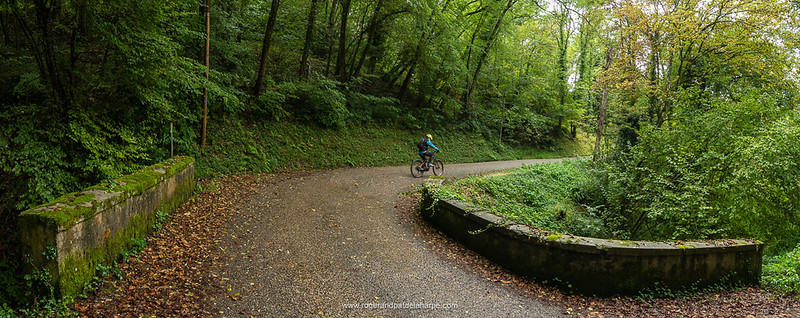 Pat climbing up through the forests on our ride to the Belvédère des Fils view site. Champagneux. France