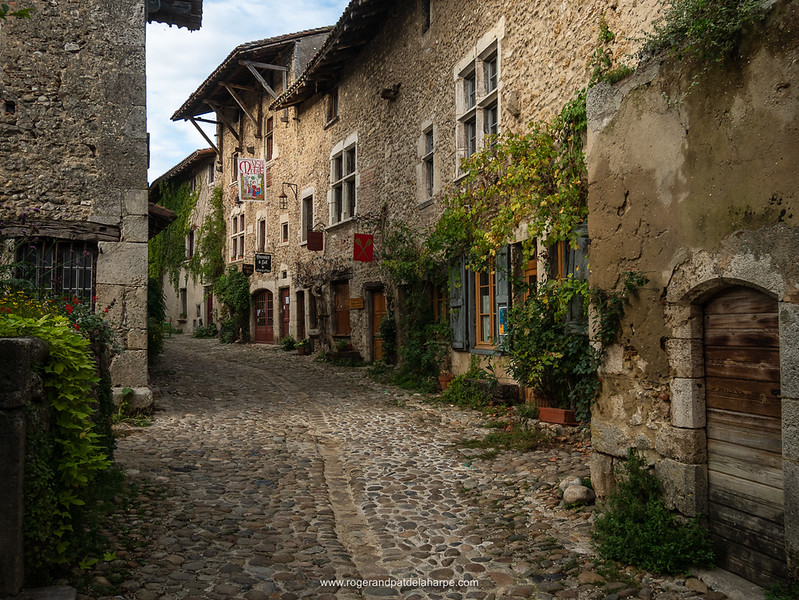 Street scene in the medieval village of Pérouges. We spent the night at Le Grenier à Sel, the last buildling on the right. France