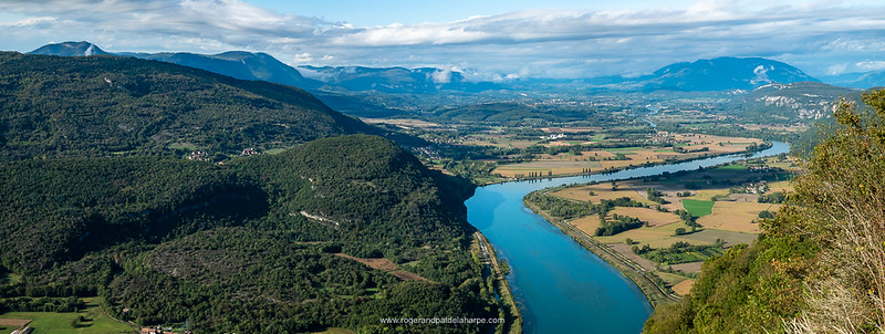 The view of the Rhone River Valley from the Belvédère des Fils view site. Champagneux. France