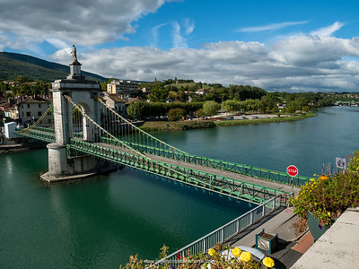 The suspension bridge over the Rhone River. Seyssel. France.