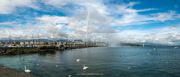 Views of Lake Geneva and Jet D'Eau. Geneva. Switzerland