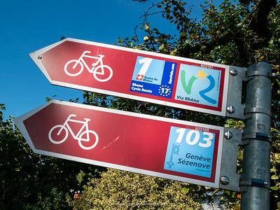 Rhône Cycle Route or  ViaRhôna markers. Geneva. Switzerland.