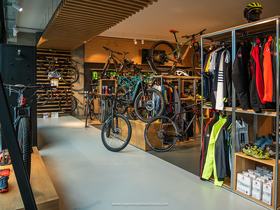 Interior of the Bcyclet bike shop where we rented our ebikes. Geneva. Switzerland
