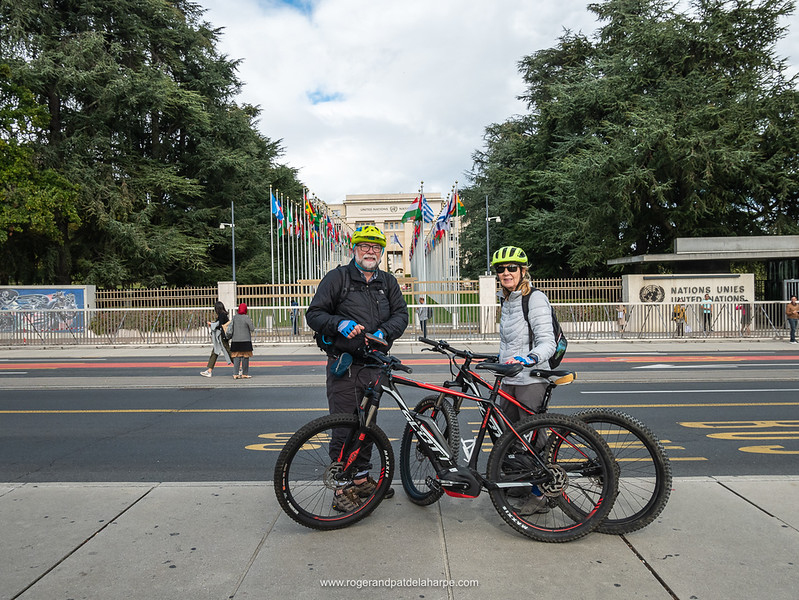 So awesome. We stopped off at the UN after collecting our bikes that used to ride along the Rhône River to Lyon in France. Switzerland