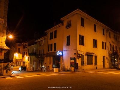 Street scene at night. Seyssel. France