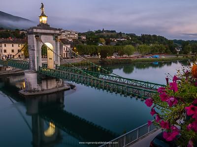 The suspension bridge over the Rhone River. Seyssel. France.