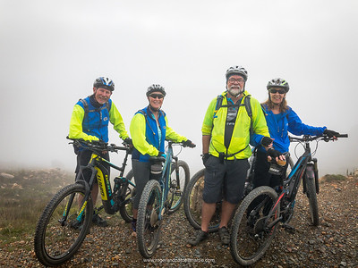 The team at the top of Swartberg Pass. From left: Dave, Joy, Roger and Pat. Behind us the mist obliterated the stunning views into the Great Karoo.