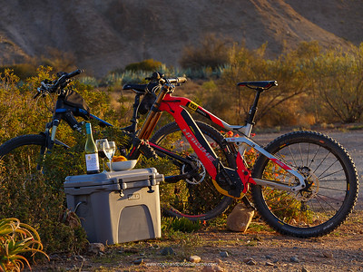 Haibike xDuro DwnHll 10.0 ebike mountain bike (red), Haibike SDURO FullNine RX eBike (mountain bike) (black) and Wild Coolers coolbox. Van Wyksdorp. Western Cape. South Africa
