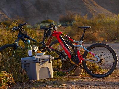 Haibike xDuro DwnHll 10.0 ebike mountain bike (red), Haibike SDURO FullNine RX eBike (mountain bike) (black) and Wild Coolers coolbox. Van Wyksdorp. Western Cape. South Africa