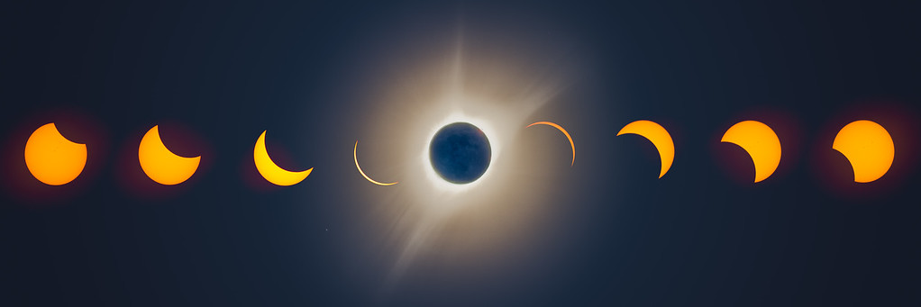 Eclipse composite, with center corona HDR