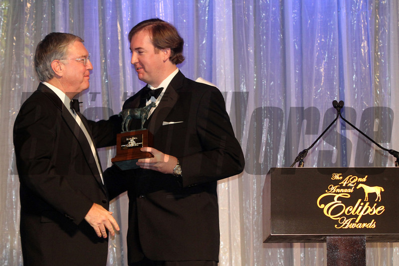 Nick Nicholson receives the Eclipse Award of Merit from his son Nick Nicholson Jr., 2013 Eclipse Awards at Gulfstream Park, FL<br /> Photos by Z