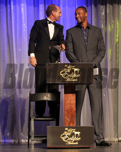 Jerry Bailey and Rashard Lewis of the Miami Heat, 2013 Eclipse Awards at Gulfstream Park, FL<br /> <br /> Photos by Z