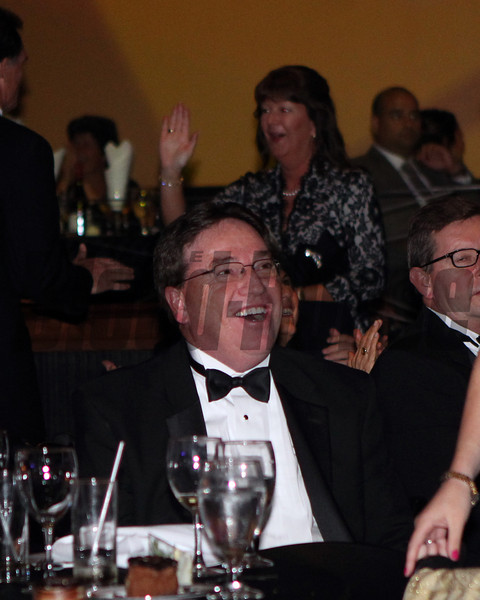 Kieran McLaughlin reacts to hearing Questing winning the Champion 3 Y O Filly Category, 2013 Eclipse Awards at Gulfstream Park, FL<br /> <br /> Photos by Z