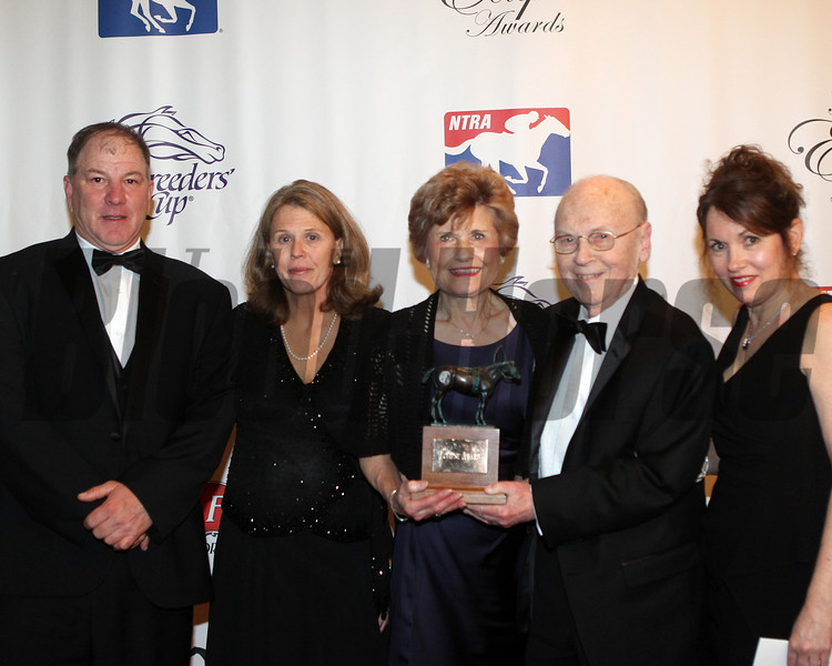Alex Waldrop,  trainer Charlie Lopresti and wife Amy, John Velasquez, sponsor rep for Noawatch , Mr/Mrs Morton Fink and daughter, 2013 Eclipse Awards at Gulfstream Park, FL<br /> Photos by Z