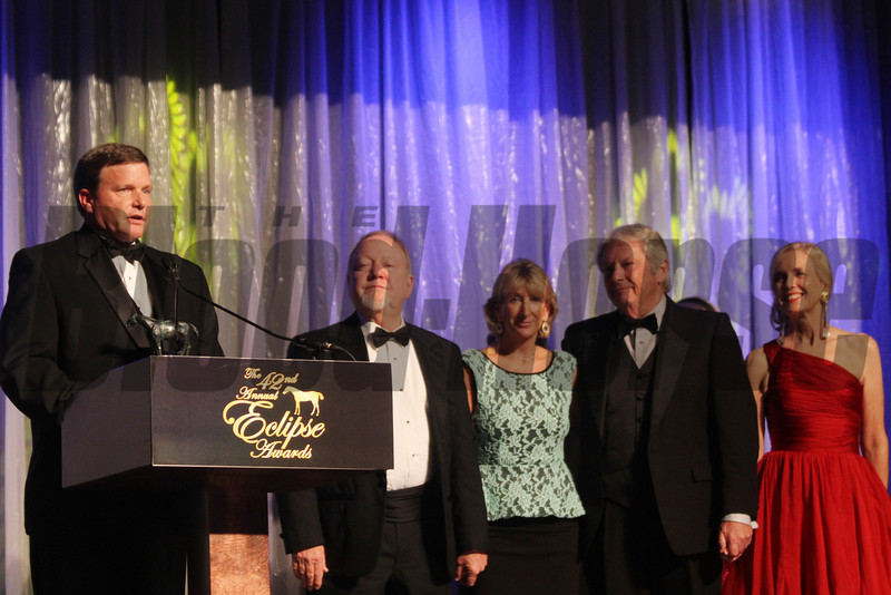 Bill Bradley and partners accept the award for champion female sprinter, Groupie Doll,  2013 Eclipse Awards at Gulfstream Park, FL<br /> <br /> Photos by Z
