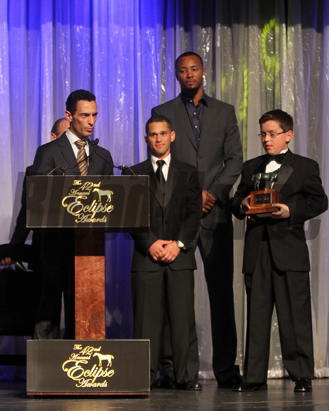 John Velasquez, Javier Castellano Little Mike and presenter Rashard Lewis accept for Ramon Domonguez as jockey of the year,  2013 Eclipse Awards at Gulfstream Park, FL<br /> <br /> Photos by Z