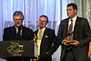 Owners Donnie Crevier, Charles Martin and trainer Tim Yakteen accept the posthumous award for Pointsoffthebench, male sprinter, 2013 Eclpse winners