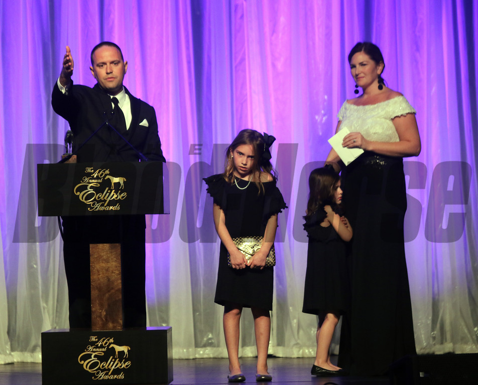 Chad Brown wins the Outstanding Trainer Eclipse with his family by his side at the 46th annual Eclipse Awards, at Gulfstream Park, 2017
