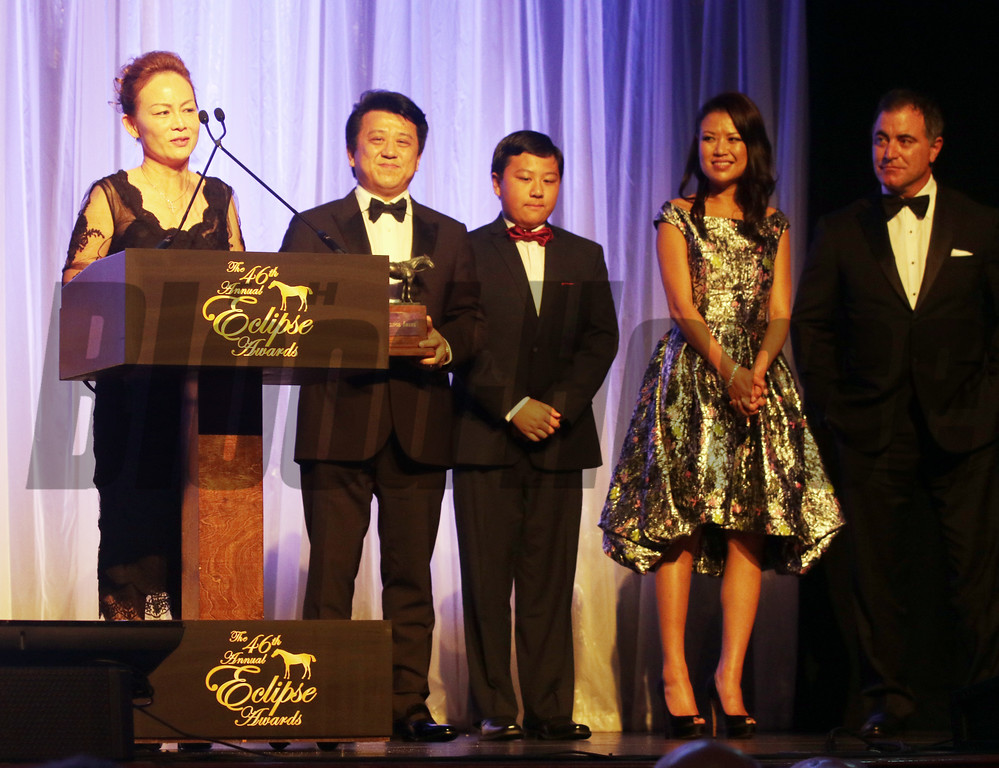 Susan and Charles Chu along with their son and friends accept the Eclipse Awards for Male Sprinter-Drefong, at the 46th annual Eclipse Awards, at Gulfstream Park, 2017 Gulfstream Park, 2017