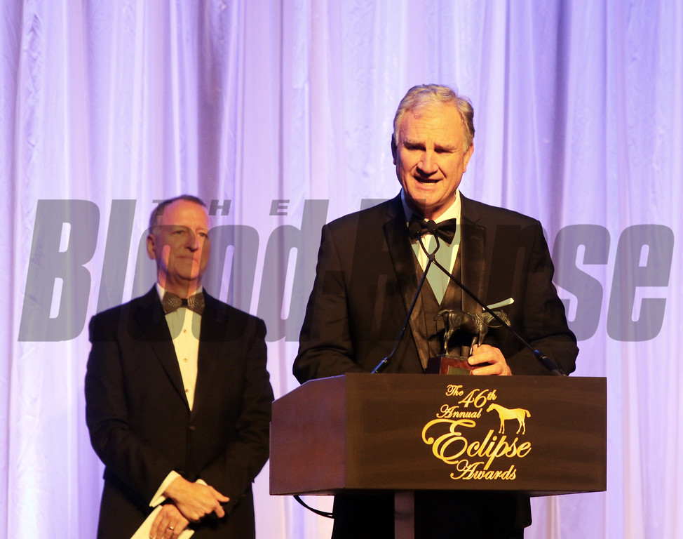 Finest City wins the Eclipse Award for Female Sprinter with Eric Kruljac accepting the trophy for his son, trainer Ian Kruljac during the 46th annual Eclipse Awards, at Gulfstream Park, 2017