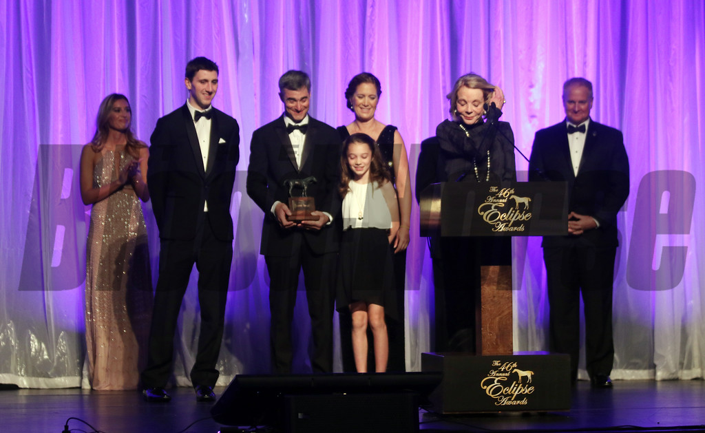Diane Naylor accepts the Outstanding Steeplechase Horse for of the year at the 46th annual Eclipse Awards, at Gulfstream Park, 2017