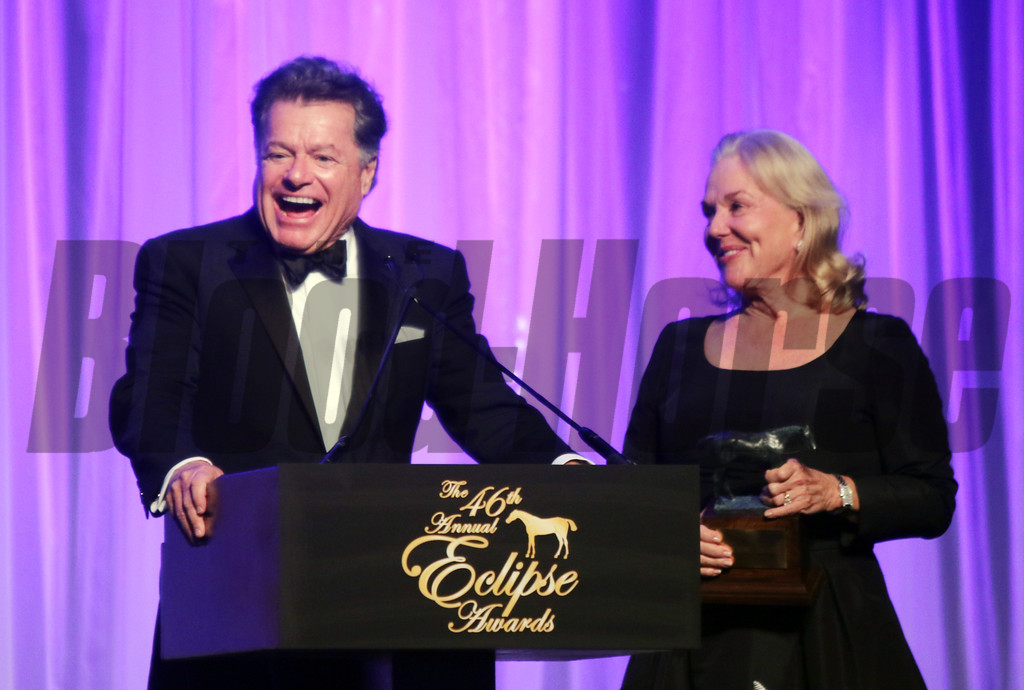 Tepin wins the Eclipse Award for Female Turf with her owner Robert Masterson and wife accepting the trophy during the 46th annual Eclipse Awards, at Gulfstream Park, 2017