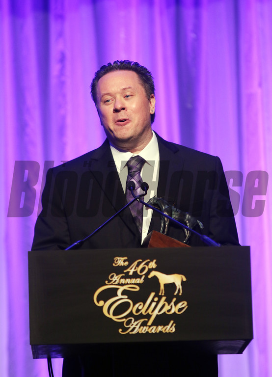 Paul Matties Jr. wins the Eclipse Award for outstanding Horseplayer of the Year during the 46th annual Eclipse Awards, at Gulfstream Park, 2017