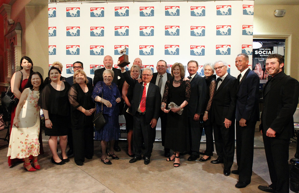 Connections to Horse of the Year California Chrome, including Art and Allan Sherman, Frank Taylor, former partner Steve Coburn and Perry Martin also accepted an award for older Male Horse at the 46th annual Eclipse Awards, at Gulfstream Park, 2017