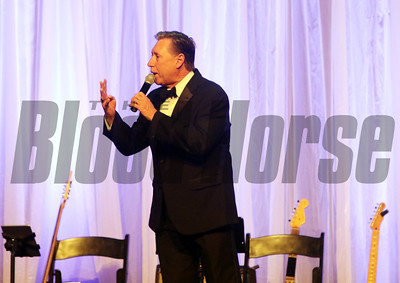 Tommy Biederman takes bids during the Aftercare Alliance Auction at the 46th annual Eclipse Awards, at Gulfstream Park, 2017