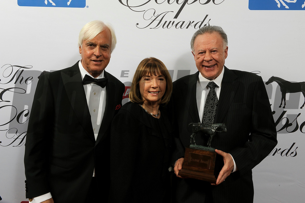 Gary and Mary West with Bob Baffert accept award for West Coast, 3 year old male at 2018 Eclipse Awards, Gulfstream Park, FL 1.25.2018