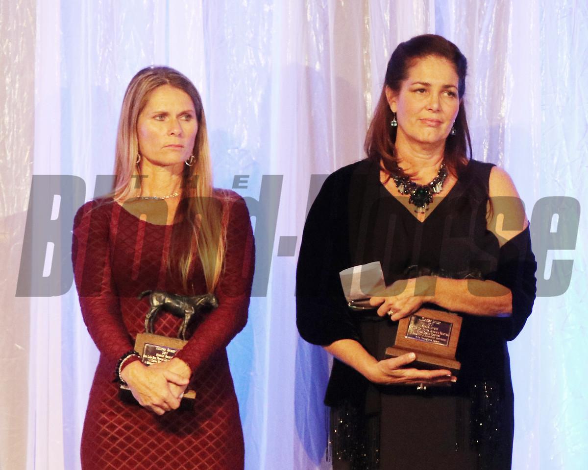 Kelly Stobie and Shelley Blodgett accept the 2017 Eclipse Award Rescue Effortsat Camarero and San Luis Rey Downs, 2018 , Gulfstream Park