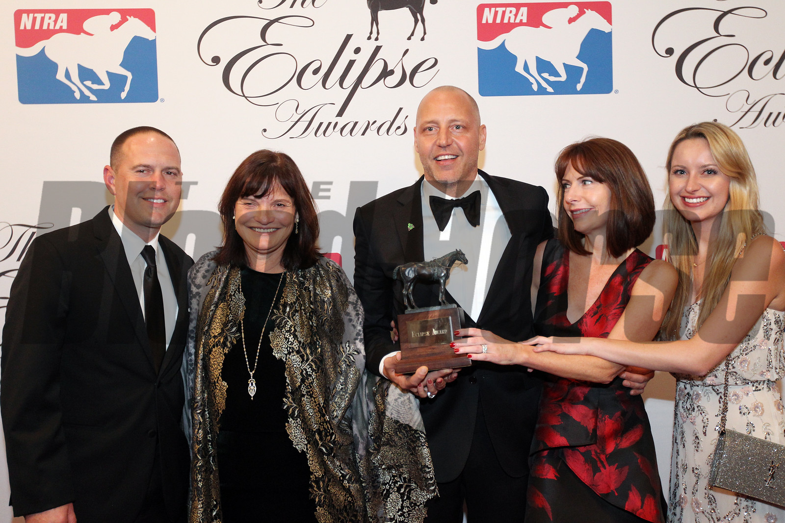 Barbara Banke and Robert Morgan accept the 2017 Eclipse Award for 2 Y O Male, Good Magic with trainer Chad Brown, 2018 , Gulfstream Park