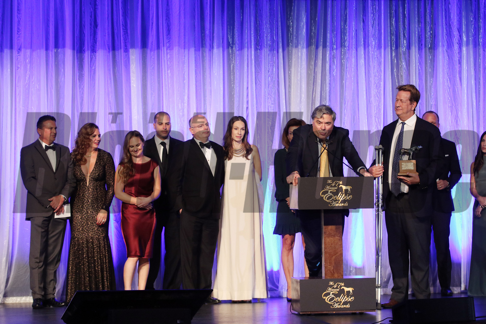 Luke Paiement accepts the 2017 Eclipse Award for 2 Y O Female, Caledonia Road with Ralph Nicks, trainer and Maurice and Samantha Regan, 2018 , Gulfstream Park