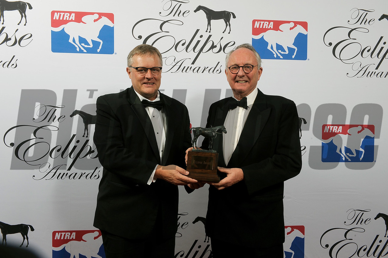 Garrett O'Rourke accepts Eclipse Award for Juddemonte Farm Owner of the Year at 2018 Eclipse Awards, Gulfstream Park, FL 1.25.2018