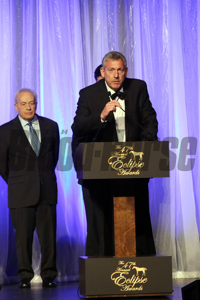 Carlos Heller accepts the Eclipse award for Female Sprinter, Unique Bella, with trainer Jerry Hollendorfer, 2018 Eclipse Awards, Gulfstream Park