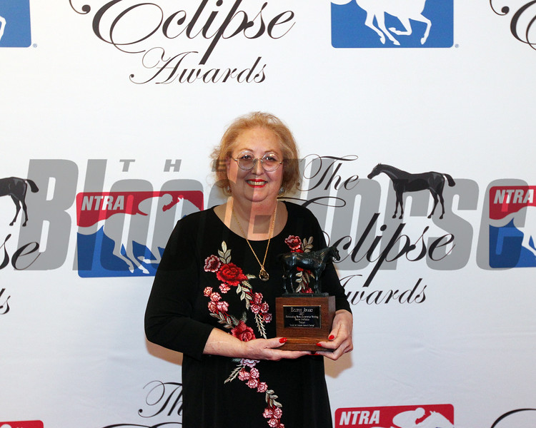 L-R NBC Media, Barbara Livingston-multimedia, Denise Steffanus, enterprise writing, Jason Frakes,- Commentary Writing, Nancy Rokos, photography, Media Awards, 2018 Eclipse Awards , Gulfstream Park