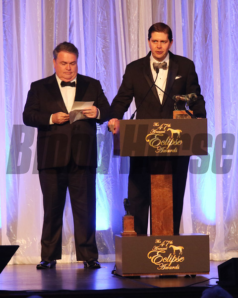 Goncarlo Torrealba and Ron Winchell  accept the 2017 Eclipse Award for Older Male, Gun Runner 2018 , Gulfstream Park