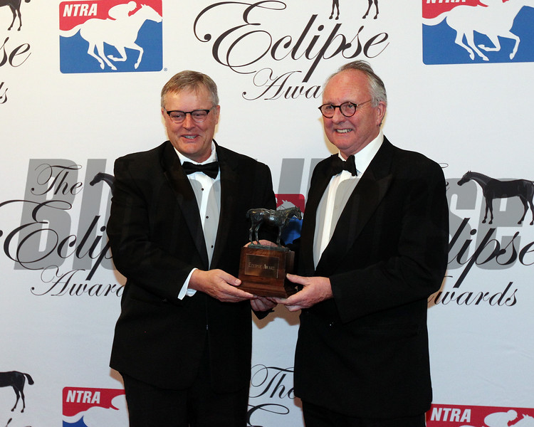 Craig Fravel present the Outstanding Owner award to Garrett O'Rourke and CEO of Juddmonte Farms, Douglas Erskine-Crum 2018 Eclipse Awards , Gulfstream Park
