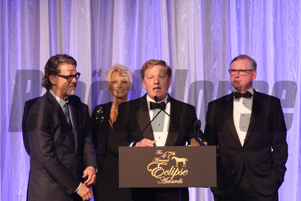 NTRA Alex Waldrop accepts the 2017 Eclipse Award for Moment of the Year 2018 , Gulfstream Park