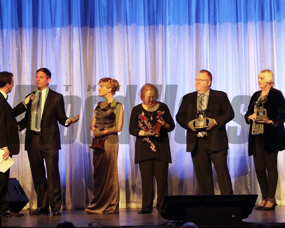 L-R NBC Media, Barbara Livingston-multimedia, Denise Steffanus, enterprise writing, Jason Frakes,- Commentary Writing, Nancy Rokos, photography, Media Awards, 2018 Eclipse Awards , Gulfstream Park