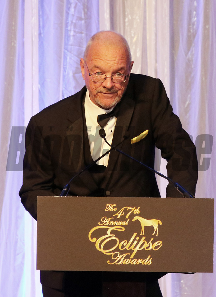 Ray Arsenault accepts the 2017 Eclipse Award for Handicapper of the Year 2018 , Gulfstream Park