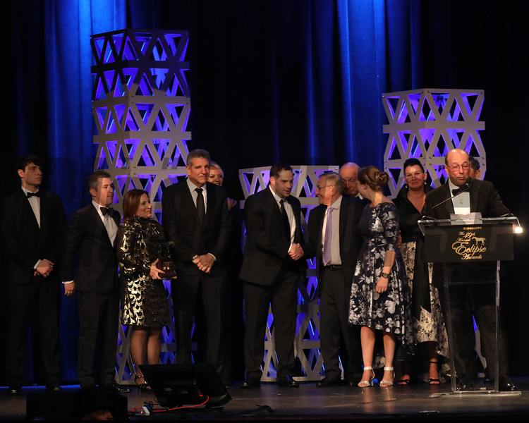 L-R Brad Cox, Liz Crow, Stuart and Teresa Grant, Michael Dubb, and friends,  2YO Filly, 2019 Eclipse Awards at Gulfstream Park, Fort Lauderdale Fl held January 23, 2020