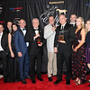Justin Border holding Eclipse Award with Stuart Exline behind to the right and trainer Peter Eurton on the end at left, Champion 2YO Male, 2019 Eclipse Awards at Gulfstream Park, Fort Lauderdale Fl held January 23, 2020
