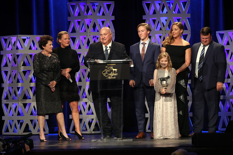 Bill Heiligbrodt and wife Corinne with familly accepts for Champion Male Sprinter, 2019 Eclipse Awards at Gulfstream Park, Fort Lauderdale Fl held January 23, 2020