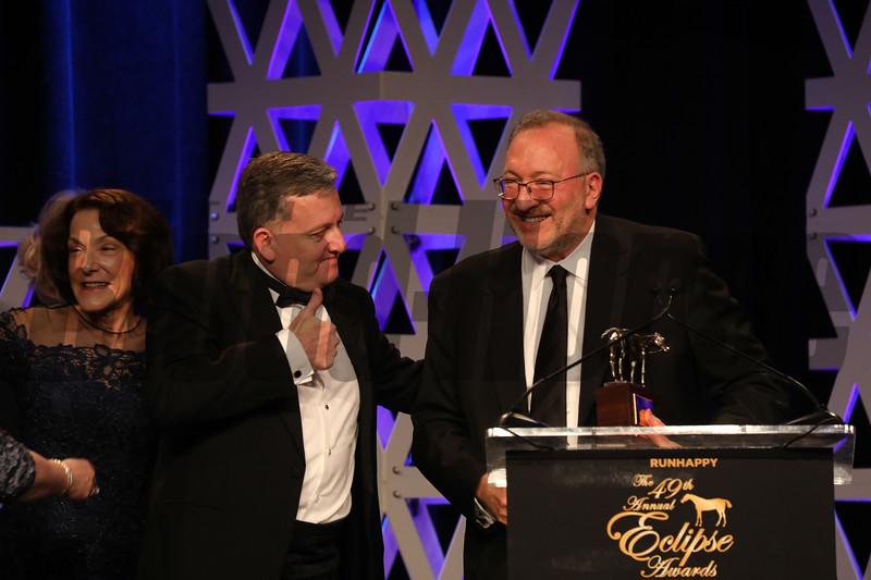 L-R Bill Lawrence, Seth Klarman, Bill Lawrence, 2019 Eclipse Awards at Gulfstream Park, Fort Lauderdale Fl held January 23, 2020