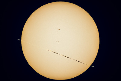 Transit of Mercury (May 9, 2016) Composite with Arrow