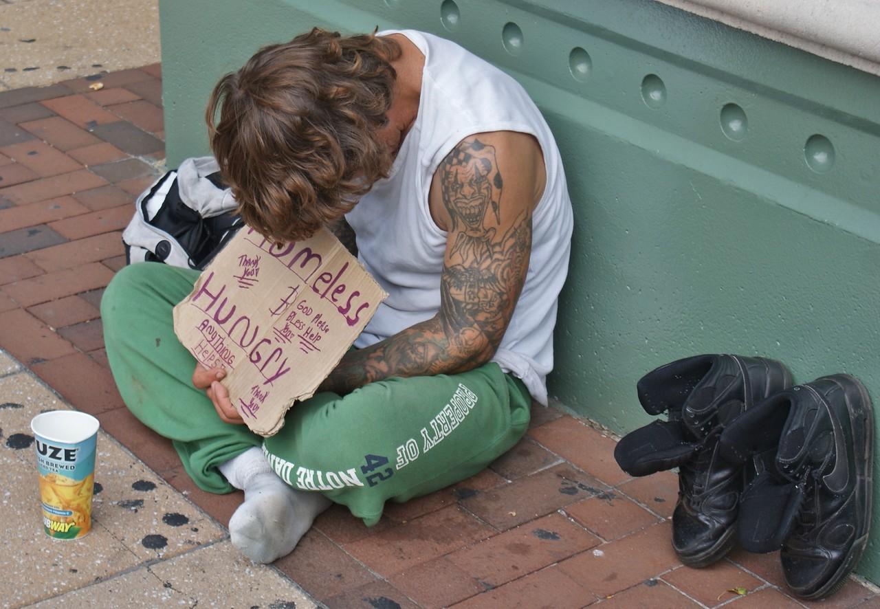 Homeless man on Philadelphia street (8/31/13)
