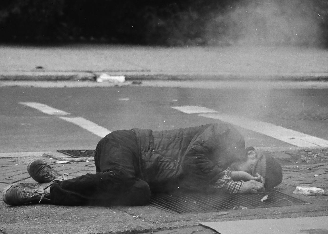 Homeless man on Philadelphia street, late 1970s.